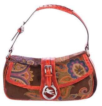 Etro Floral Pattern Velvet Shoulder Bag