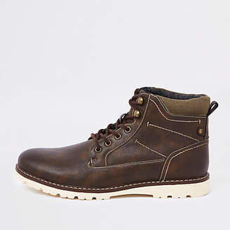 River Island Dark brown faux leather lace-up boots