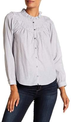 Rebecca Taylor Long Sleeve Ruffle Stripe Top