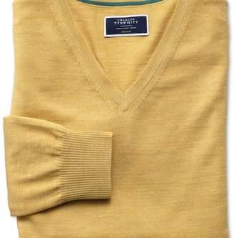 Charles Tyrwhitt Yellow merino wool v-neck jumper