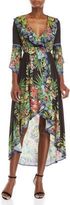 Flying Tomato Ruffle V-Neck Printed Maxi Dress