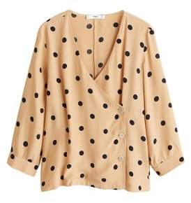 MANGO Polka dot cross blouse