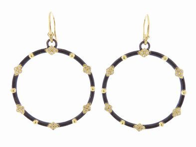 Armenta Midnight Hoop Earrings with Yellow Gold Cravelli Crosses and Diamonds