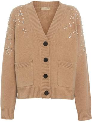 Burberry Crystal-embellished Merino Wool Cardigan