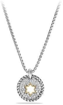 David Yurman Petite Pave Star Of David Charm Necklace With Diamonds