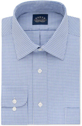 Eagle Men Classic-Fit Stretch Collar Non-Iron Blue Check Dress Shirt