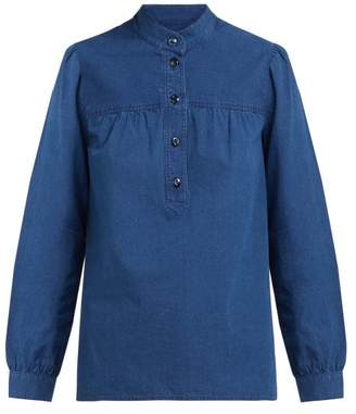 A.P.C. Loula Cotton Chambray Blouse - Womens - Indigo