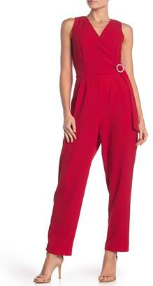 Just For Wraps Surplice Sleeveless Crepe Jumpsuit