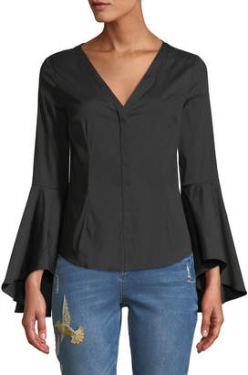 Milly Flare-Sleeve Poplin Button Front Blouse