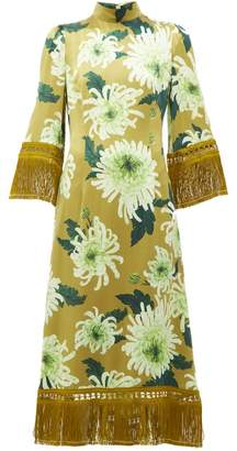 Andrew Gn Tasselled Floral Print Silk Blend Dress - Womens - Green Multi
