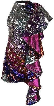 Halpern front ruffled party dress