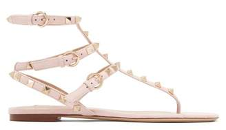 Valentino Rockstud Flat Suede Sandals - Womens - Light Pink