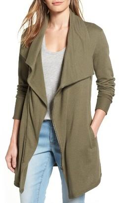 Women's Caslon Asymmetrical Drape Collar Terry Jacket $79 thestylecure.com