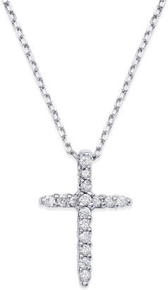 Macy's Diamond Cross Pendant Necklace in 14k White Gold (1/6 ct. t.w.)