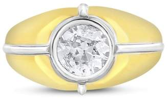 18k Yellow and White Gold 1.19ct. Diamond Solitaire Pinky Ring Size 7