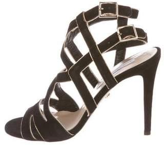 Diane von Furstenberg Suede Caged Sandals