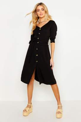 boohoo Button Through Belted Shirt Midi Dress