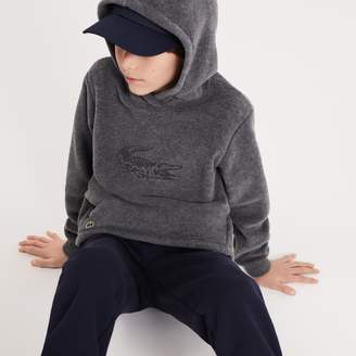 Lacoste Boys' Oversized Crocodile Hooded Fleece Sweatshirt
