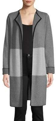 Kasper Suits Open-Front Longline Cardigan
