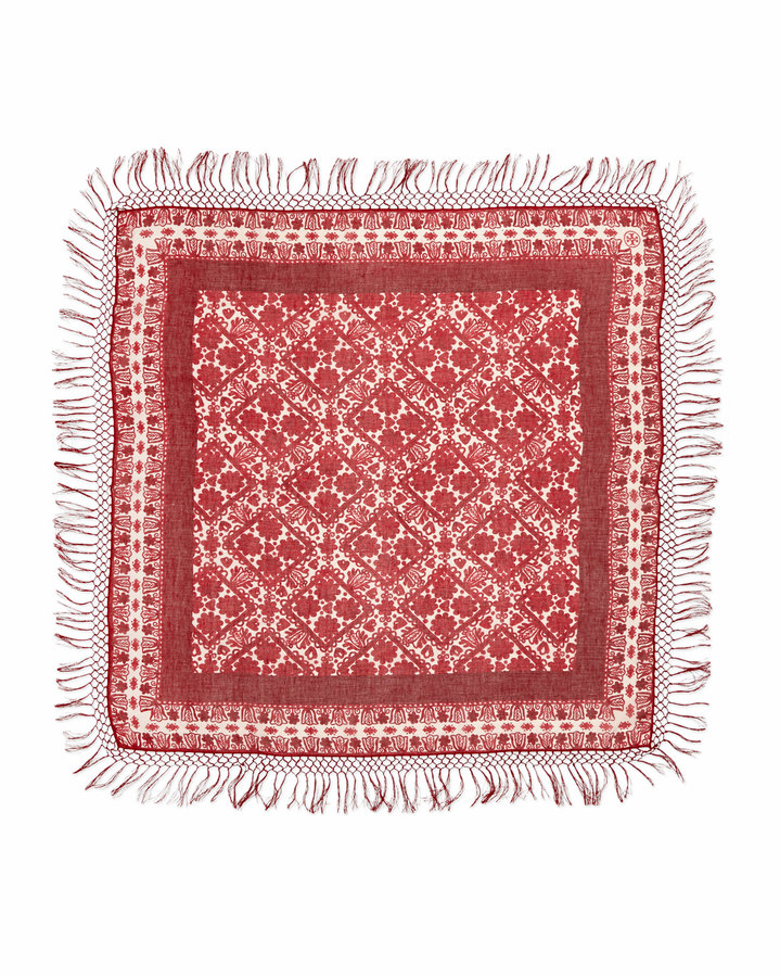 Tory Burch Silesa Floral Square Scarf, Red