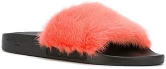 Givenchy Fur strap slides