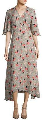 Derek Lam 10 Crosby Short-Sleeve Printed Silk Midi Dress, Pumice $695 thestylecure.com