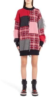 MSGM Patchwork Wool Blend Sweater Dress