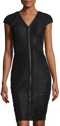 JAX Cap-Sleeve Zip-Front Sheath Dress $119 thestylecure.com