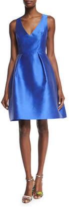 Monique Lhuillier Sleeveless Fit-&-Flare Dress, Cobalt