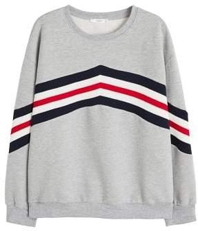 Violeta BY MANGO Cotton contrast panels sweatshirt