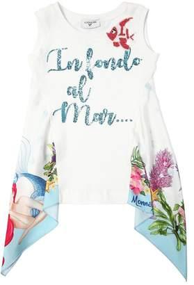 MonnaLisa Glittered Printed Cotton Jersey T-Shirt