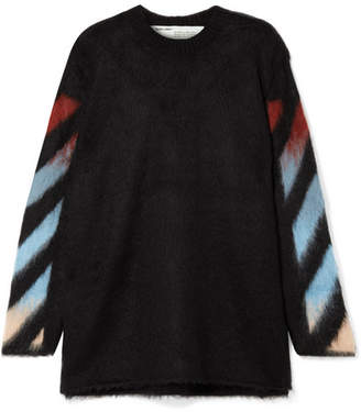 Off-White Striped Intarsia-knit Sweater - Black