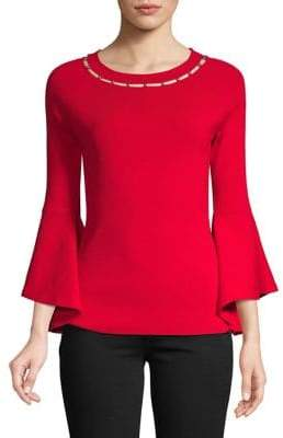 INC International Concepts Stud Cut-Out Neck Bell Sleeve Top