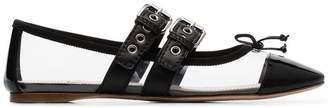 Miu Miu black buckled strap PVC leather flat pumps