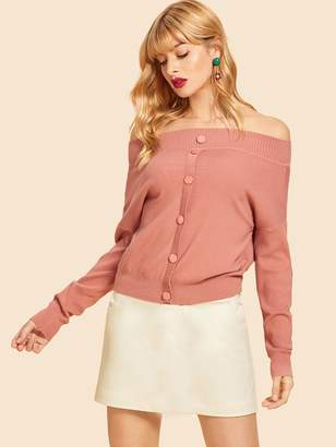 Shein Button Up Front Bardot Sweater