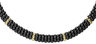 "Lagos Gold & Black Caviar Collection 18K Gold & Ceramic Twelve Station Collar Necklace, 16"""
