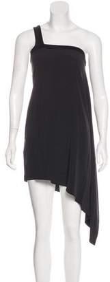 Helmut Lang Silk One-Shoulder Asymmetrical Midi Dress