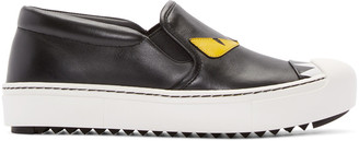 Fendi Black Bug Eyes Slip-On Sneakers $650 thestylecure.com