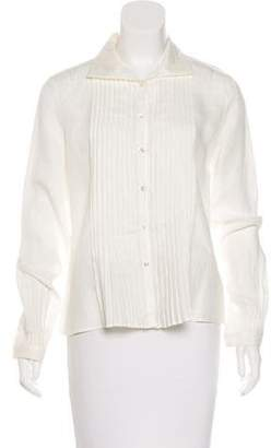 Akris Pleated Button-Up Top