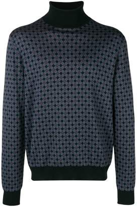 Prada argyle turtle neck jumper