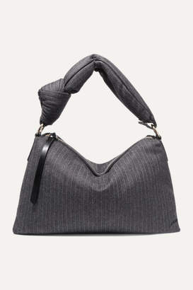 Dries Van Noten Padded Pinstriped Wool-blend Tote - Gray