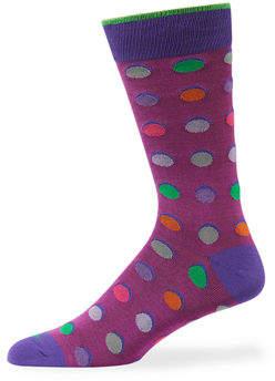 Duchamp Men's Multicolor Polka-Dot Cotton Socks