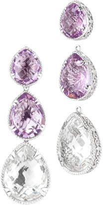 Alor Delatori by Delatori By Silver 69.00 Ct. Tw. Pink Amethyst & Crystal Drop Earrings