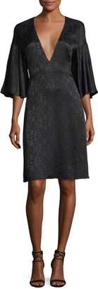 Derek Lam Medallion Jacquard V-Neck Dress