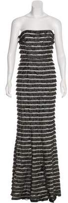 Carmen Marc Valvo Printed Ruffle-Accented Dress w/ Tags