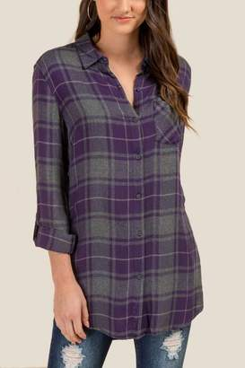francesca's Camila Flannel Button Down Top - Ink Navy