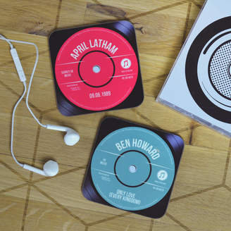 Oakdene Designs Personalised Record Vinyl Drinks Coaster