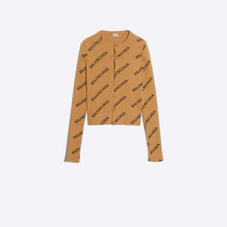 Balenciaga Ribbed knit long sleeves logo cardigan