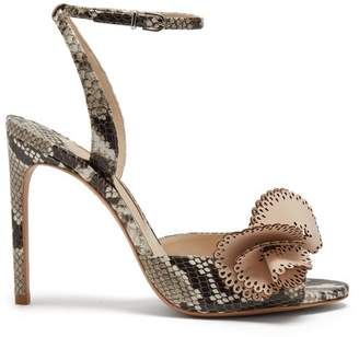 Sophia Webster Soleil Snake Effect Leather Sandals - Womens - Brown Multi
