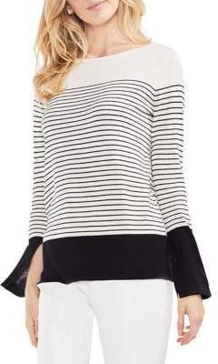 Vince Camuto Slit Cuff Colorblock Stripe Cotton Sweater